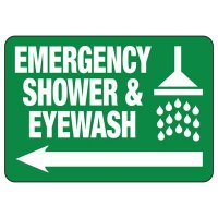 Emergency Shower (Left Arrow) - Industrial First Aid Sign