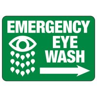 Emergency Eyewash (Right Arrow) - Industrial First Aid Sign