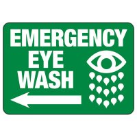 Emergency Eyewash (Left Arrow) - Industrial First Aid Sign