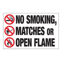 Interactive Sign Insert - No Smoking, Matches Or Flames