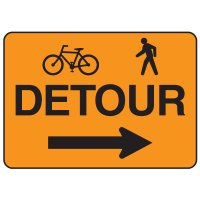 Jumbo Construction Signs - Detour (w/Graphic & Arrow Right)