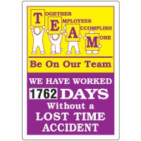 Jumbo Dial-A-Day Safety Scoreboard - Be On Our Team