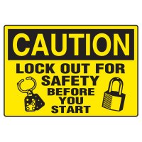 Lock-Out Safety Signs - Caution Lock Out For Safety