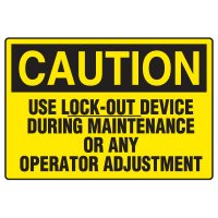 Lock-Out Safety Signs - Caution Use Lock-Out Device
