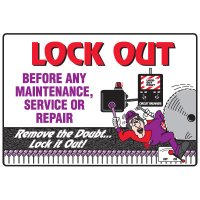 Lock-Out Safety Signs - Lock Out Before Any Maintenance