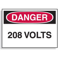 Lockout Hazard Warning Labels- Danger 208 Volts