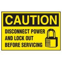 Lockout Hazard Warning Labels - Caution Disconnect Power