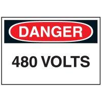 Lockout Hazard Warning Labels- Danger 480 Volts