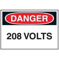 Lockout Hazard Warning Labels- Danger 208 Volts