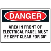"""Lockout Hazard Warning Labels- Danger Area In Front Of Electrical Panel Must Be Kept Clear For 36"""""""