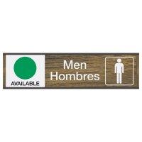 Men Available/In Use - Bilingual Engraved Restroom Sliders