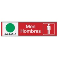 Men Available/In Use - Bilingual Engraved Restroom Sliders