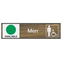 Men's Restroom Sign w/ Engraved Sliders - Available/In Use