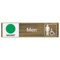 Engraved Men's Restroom Sign w/ Sliders - Vacant/Occupied