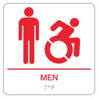 Graphic Braille Signs - Men's Restroom w/ Dynamic Accessibility