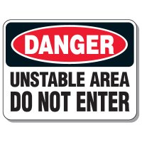 Giant Hazardous Work Zone Signs - Danger Unstable Area