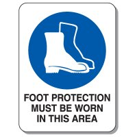 Giant Protective Wear Signs -  Foot Protection Must Be Worn In This Area