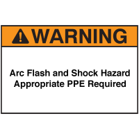 NEC Arc Flash Protection Labels - Arc Flash and Shock Hazard Appropriate PPE Required