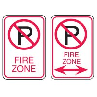 No Parking Enforcement Signs - Fire Zone (No Parking Symbol & Arrow)