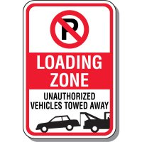 No Parking Signs - Loading Zone With Symbol & Towing Graphic | Seton Canada