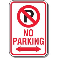 No Parking Signs - No Parking With Symbol & Double Arrow