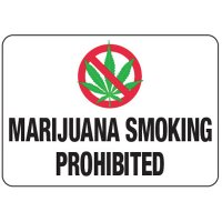 No Smoking Signs - Marijuana Smoking Prohibited