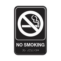 No Smoking W/ Symbol - Graphic ADA Braille Tactile Signs