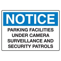 Traffic & Parking Signs - Notice Parking Facilities Under Surveillance