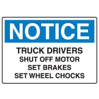 Traffic & Parking Signs - Notice Truck Drivers Shut Off Motor