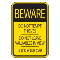 Parking Lot Signs - Beware Lock Your Car