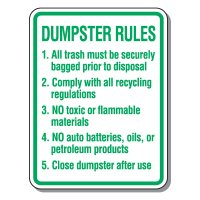 Parking Lot Security & Safety Signs - Dumpster Rules