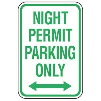 Parking Permit Signs - Night Permit Parking Only (Double Arrow)