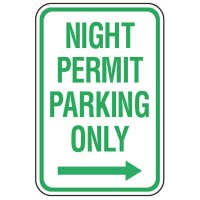 Parking Permit Signs - Night Permit Parking Only (Right Arrow)