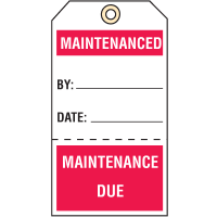Quality Control Action Tags- Maintenanced / Maintenance Due
