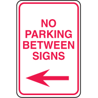 Plastic No Parking Signs - No Parking Between Signs