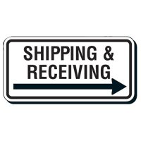 Reflective Parking Lot Signs - Shipping & Receiving with Right Arrow
