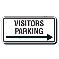 Reflective Parking Lot Signs - Visitors Parking (Right Arrow)