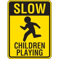 Reflective Pedestrian Crossing Signs - Slow Children Playing
