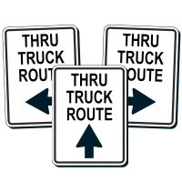 Reflective Traffic Reminder Signs - Thru Truck Route
