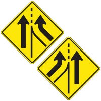 Reflective Warning Signs - Added Lane (Symbol)