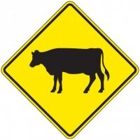Reflective Warning Signs - Cow (Symbol)