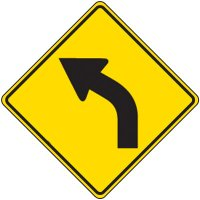 Reflective Warning Signs - Curved Arrow Symbol