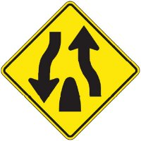Reflective Warning Signs - Divided Highway (Symbol)