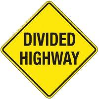 Reflective Warning Signs - Divided Highway