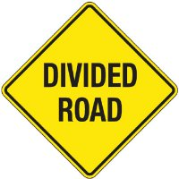 Reflective Warning Signs - Divided Road