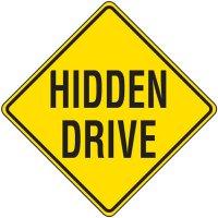 Reflective Warning Signs - Hidden Drive