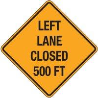 Reflective Warning Signs - Left Lane Closed