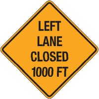 Reflective Warning Signs - Left Lane Closed