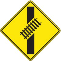 Reflective Warning Signs - Railtracks Crossing Road (Symbol)