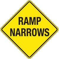 Reflective Warning Signs - Ramp Narrows